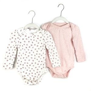 GAP Baby Girl Floral Long Sleeve Bodysuit Two Pack